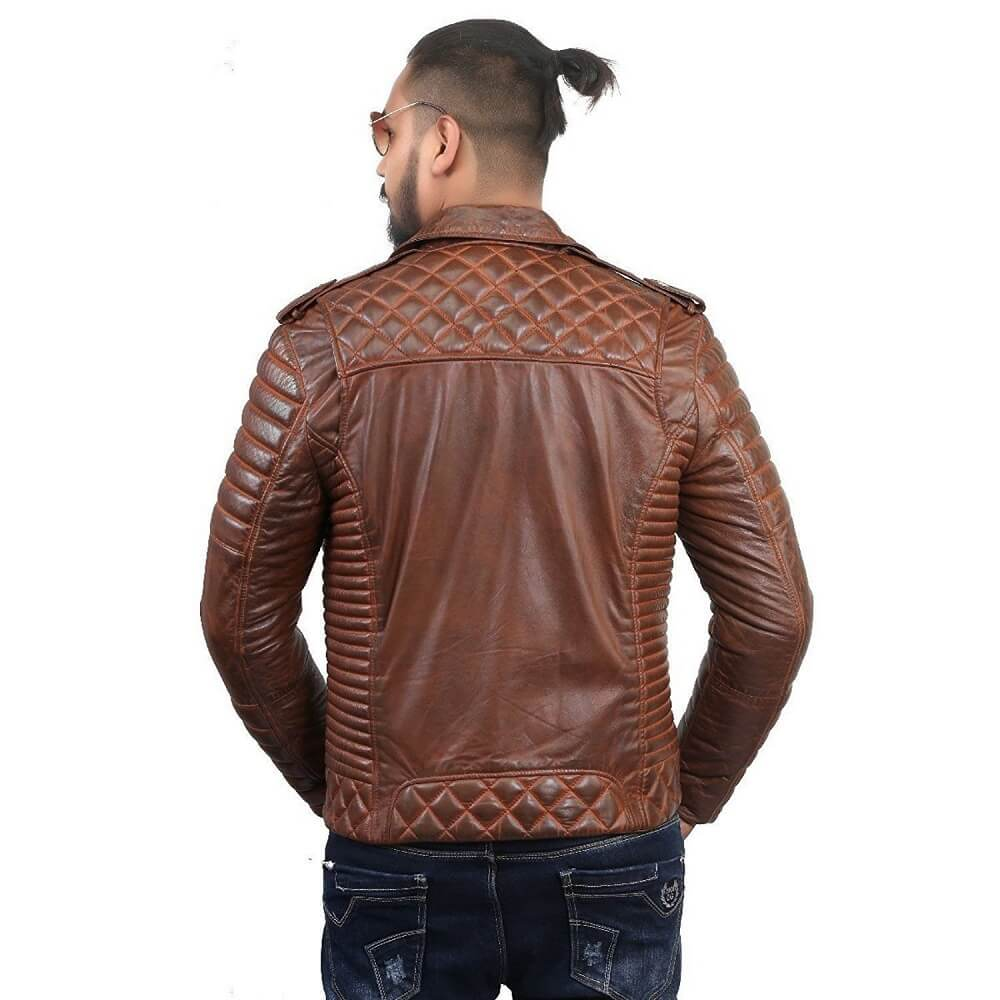 brown double rider jacket back side