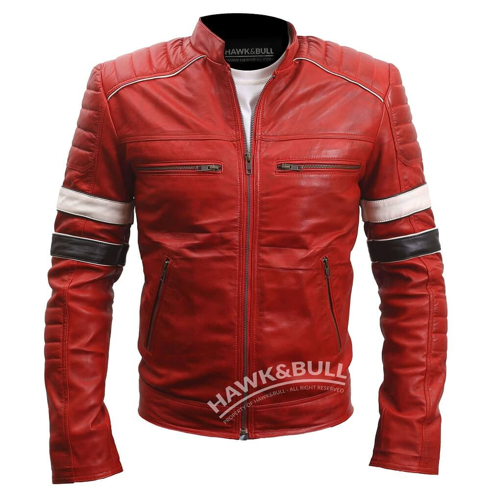 red leather moto jacket mens front sdie
