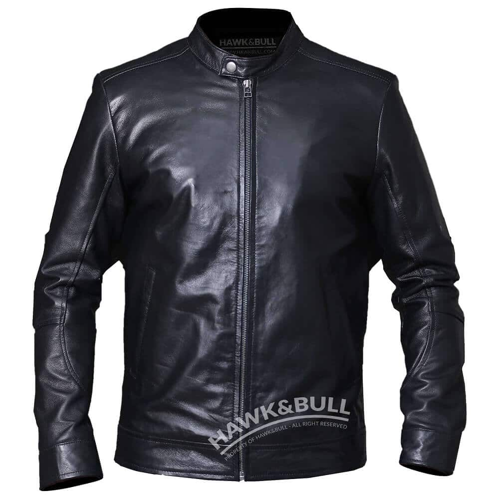 black mens riding jacket front side