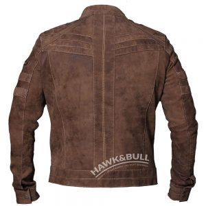 brown leather motorycle jacket back side