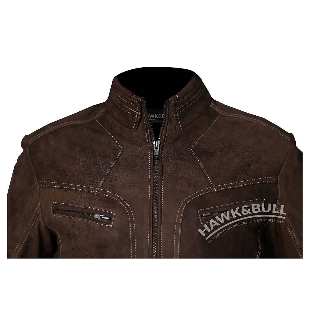 mens vintage brown leather jacket close shot