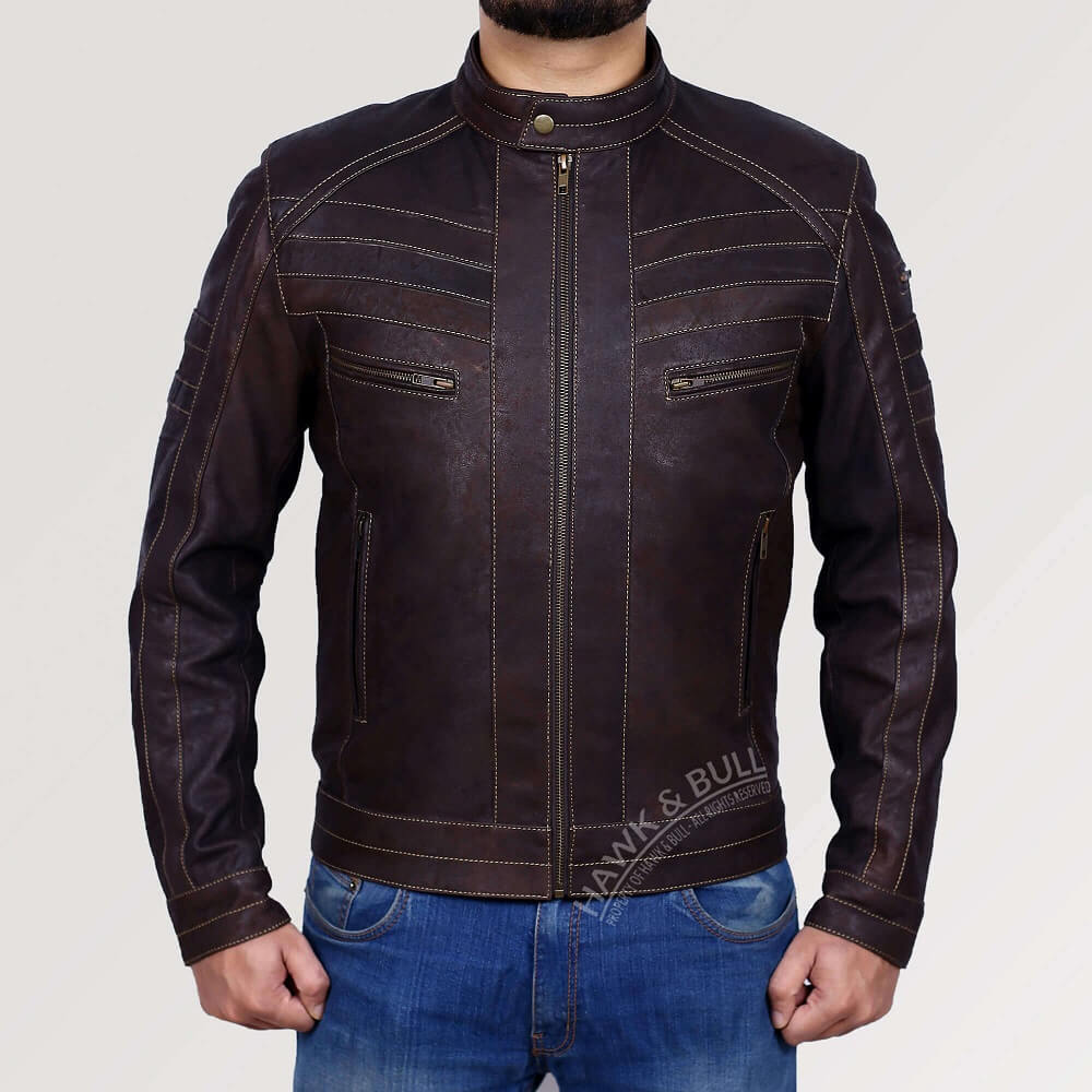 dark brown leather motorcycle jacket front side