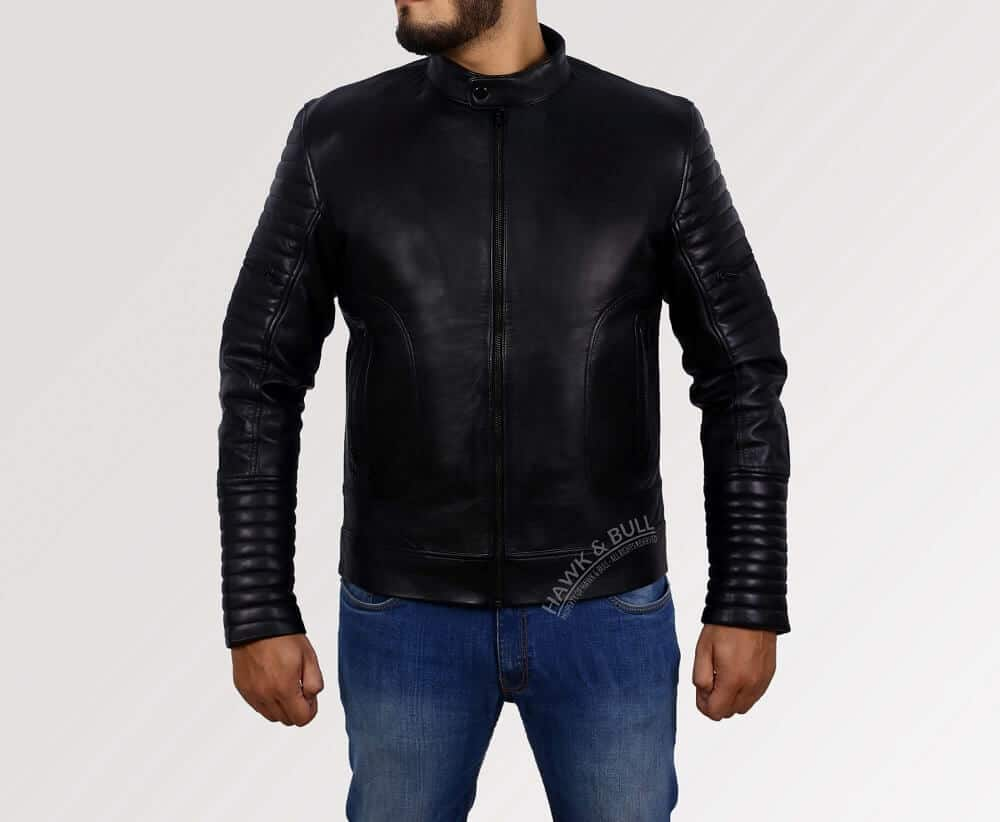 mens black leather riding jacket