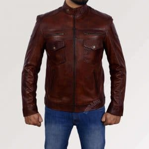 dark brown leather jacket mens front