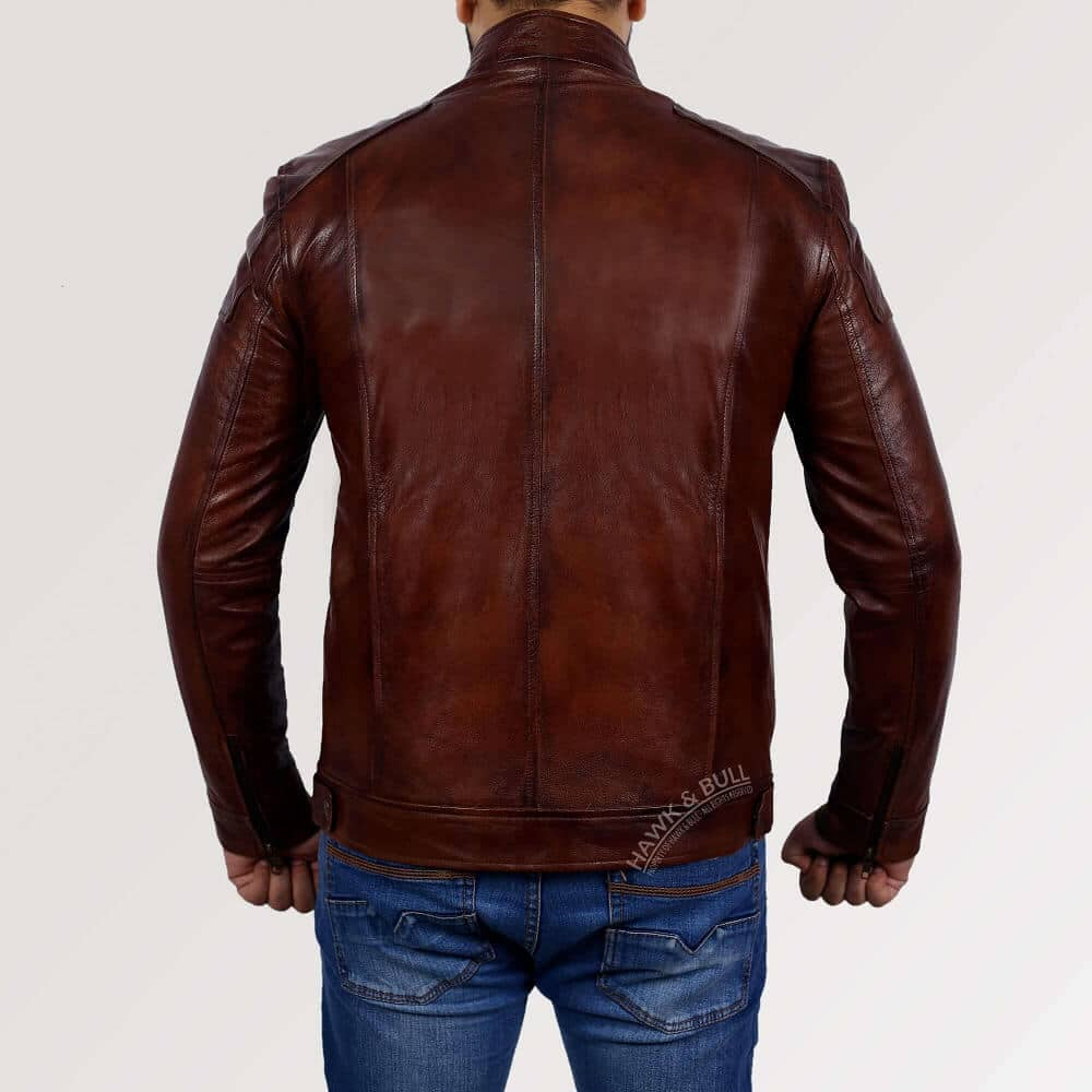 dark brown leather jacket mens back side