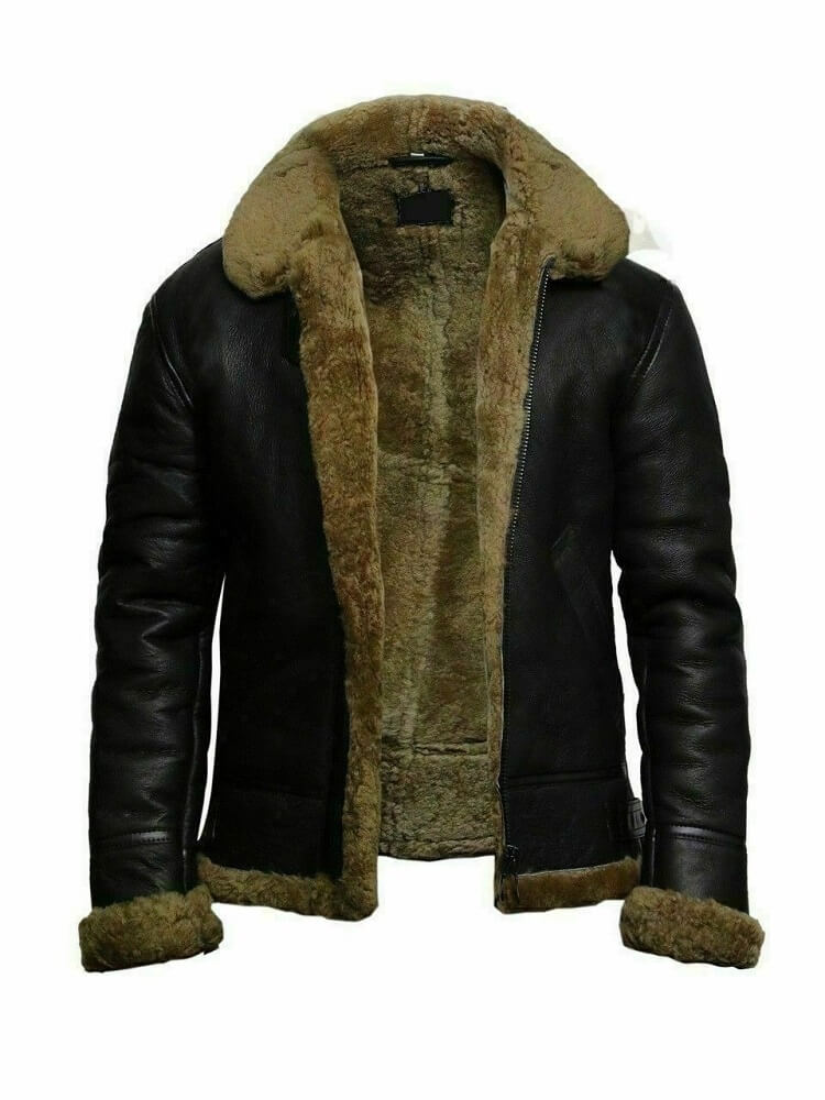 mens leather bomber jacket with fur collar front side