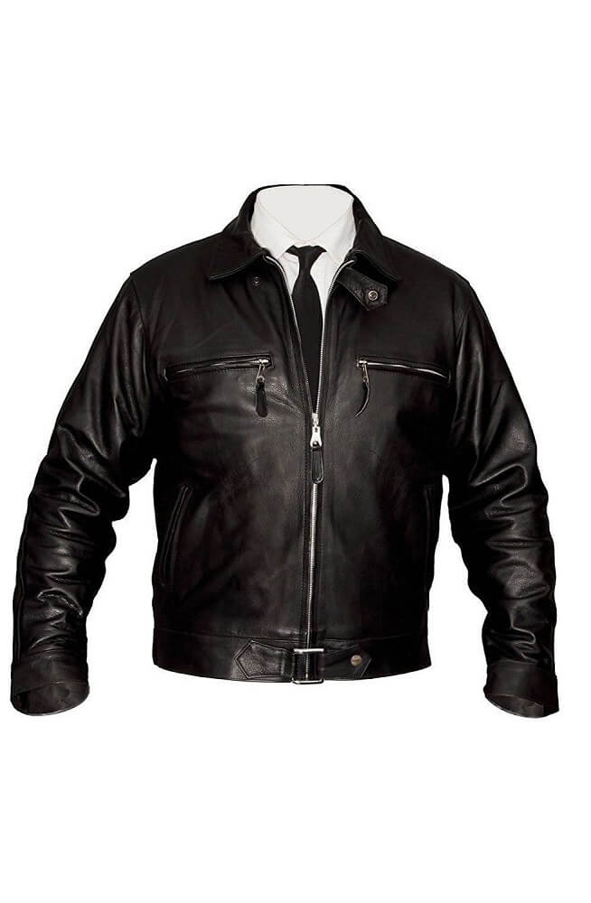 simple mens black leather biker jacket