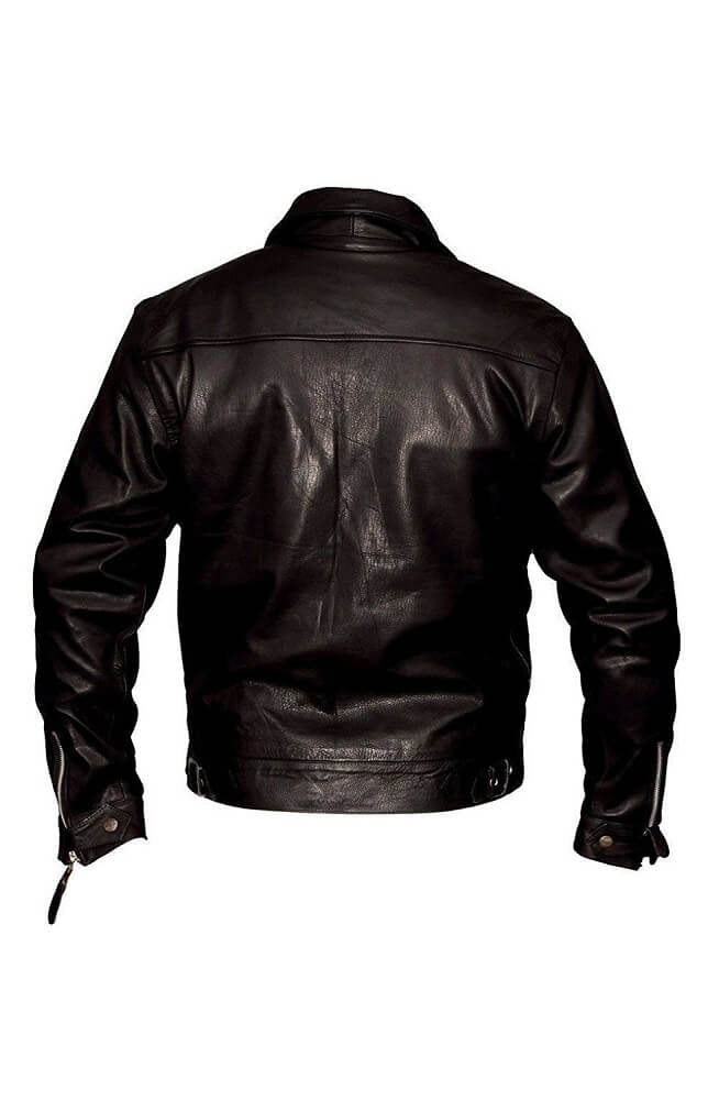plain black biker jacket back side