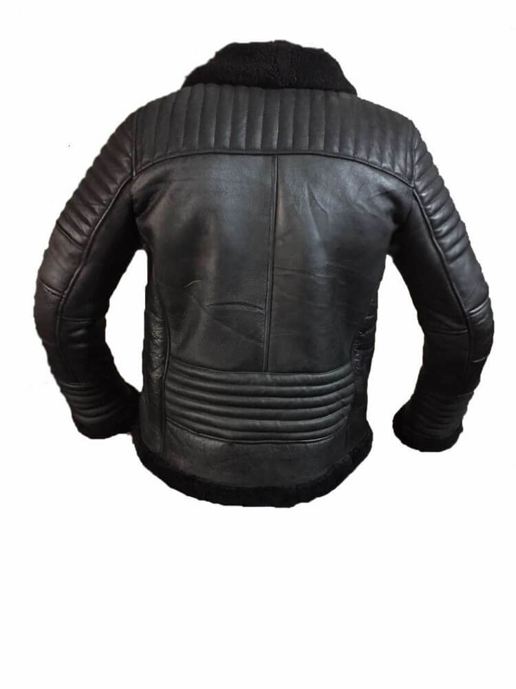 black aviator jacket back side