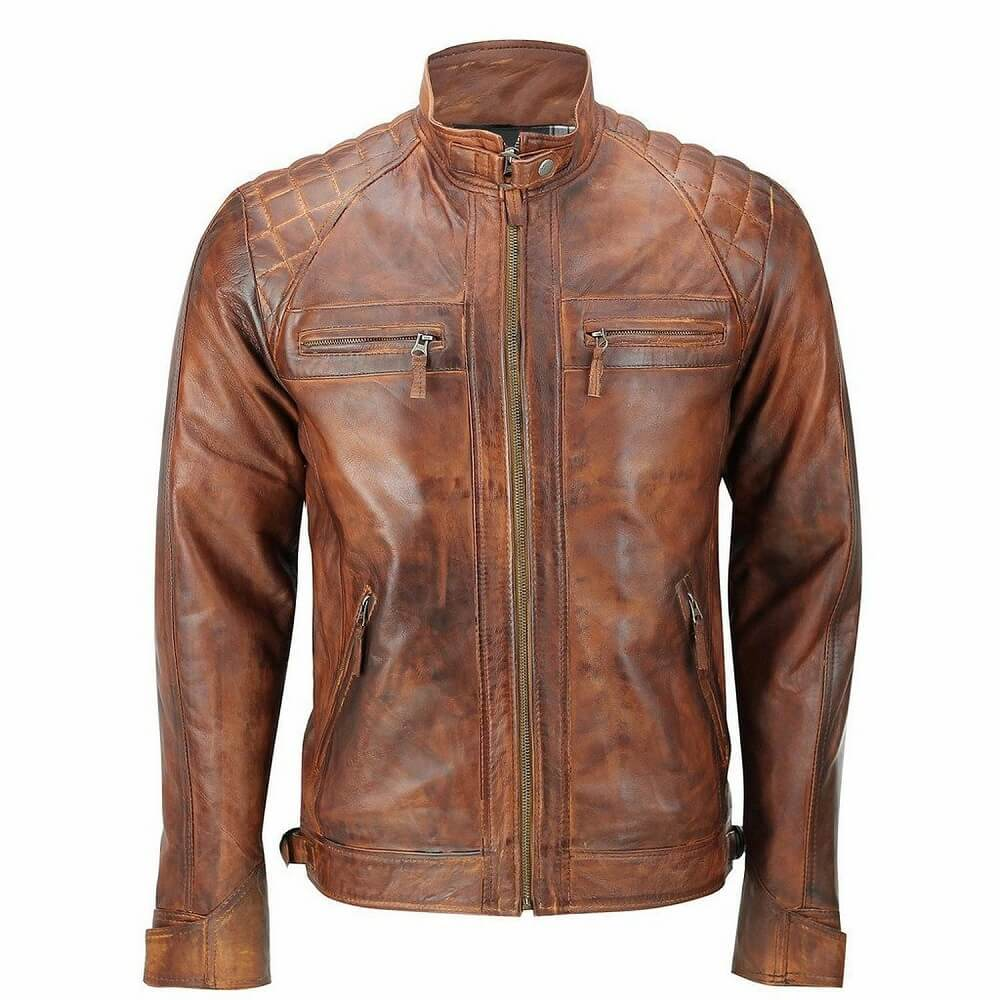 tan leather motorcycle jacket front side