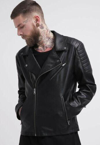 mens rogue black leather moto jacket