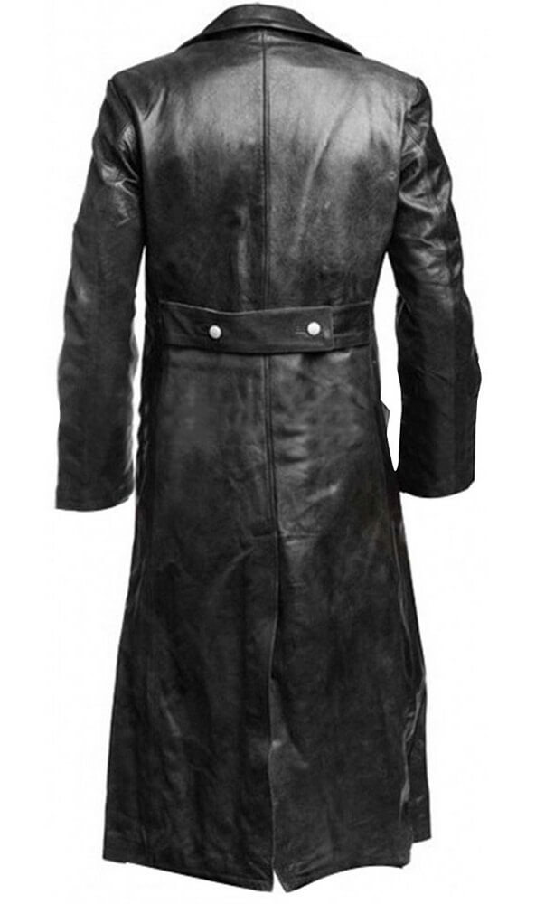leather military coat back side