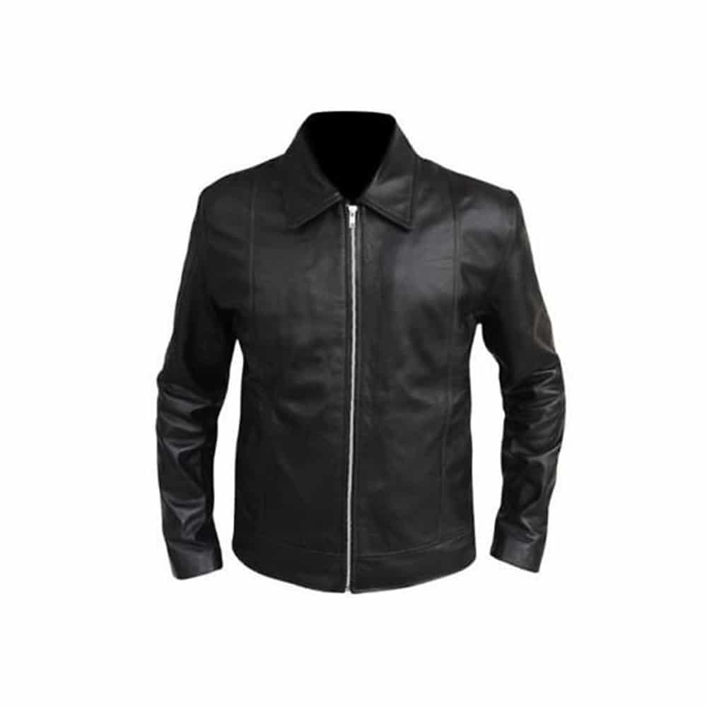 hank moody leather jacket front side