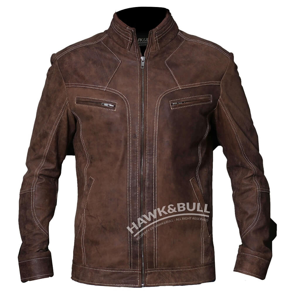 mens vintage brown leather jacket front side