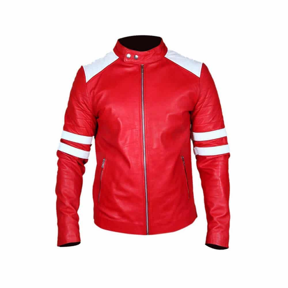 red and white leather jacket front side