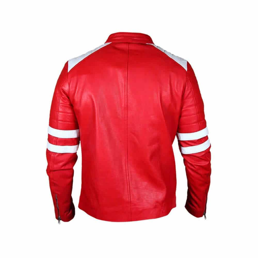 red and white leather jacket