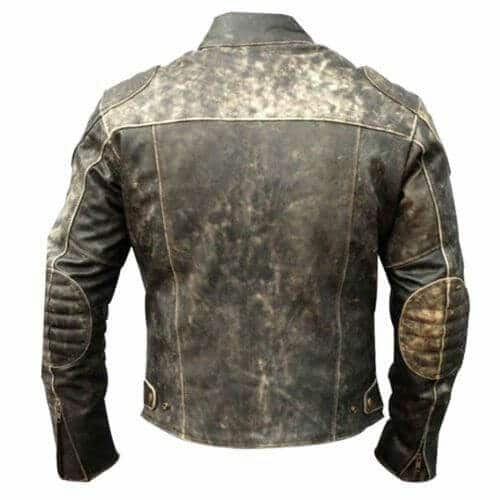 distressed black leather motorcycle jacket back side